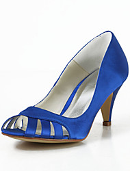 Bridal Satin Stiletto Heel Pumps with Hollow-out Wedding/Special Occasion Shoes(More Colors)