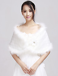 Fur Wraps / Wedding  Wraps Shrugs Faux Fur White Wedding / Party/Evening / Casual Flower(s)