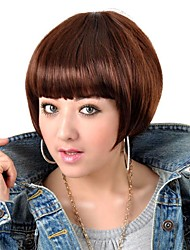 Capless High Quality Synthetic Dark Brown Straight BOB Hair Wigs