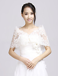 Wedding  Wraps Shrugs Long Sleeve Lace White Wedding / Party/Evening Lace / Ruffles Open Front No