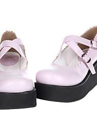 Festoneado borde rosado PU 6cm cuña Dulce Zapatos Lolita