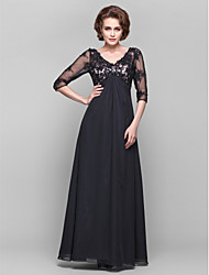 Dress - Black A-line V-neck Floor-length Chiffon/Lace