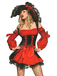 Sexy Cool Pirate femme noir et rouge costume d'Halloween