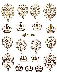 Or Metal Design Nail Art Stickers Conseils Couronne de dessin animé