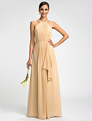 Lanting Bride® Floor-length Chiffon Bridesmaid Dress - Sheath / Column High Neck Plus Size / Petite with Draping / Sash / Ribbon
