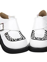 Blanco hecho a mano patrón de prueba de cuero de la PU 6cm cuña Oji Lolita Shoes