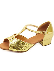 Non Customizable Women's/Kids' Dance Shoes Latin/Ballroom Sparkling Glitter Chunky Heel Silver/Gold/Fuchsia