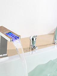 Contemporary Chrome LED Tubfaucet cascade généralisée avec douche à main