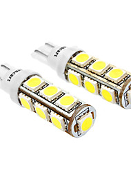T10 6W 13x5060SMD 480-520LM 6000-6500K White Light-LED für Auto (DC 12V, 2-Pack)