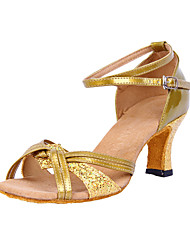 Women's Dance Shoes Latin/Ballroom Leatherette/Sparkling Glitter Heel Silver/Gold Customizable