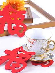 "Chinese Pattern ""福"" Palavra feltro Coaster Mat Cup"