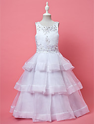 A-line Ball Gown Ankle-length Flower Girl Dress - Organza Jewel with Appliques Beading