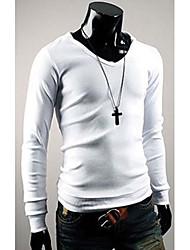 con cuello en V color puro camiseta delgada