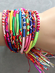 Braceletes tecidos coloridos