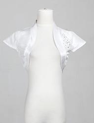 À manches courtes en taffetas de mariée mariage Wrap / veste avec strass (plus de couleurs)