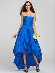 Asymmetrical Taffeta Bridesmaid Dress - Royal Blue Plus Sizes / Petite A-line Strapless