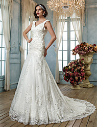 Mermaid / Trumpet Queen Anne Court Train Tulle Wedding Dress with Beading Appliques Button by LAN TING BRIDE®