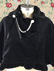 Black Jazz Wool Gothic Lolita Shawl with Chain