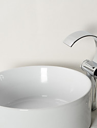 Contemporary Vessel Waterfall with  Ceramic Valve Two Handles One Hole for  Chrome , Bathroom Sink Faucet