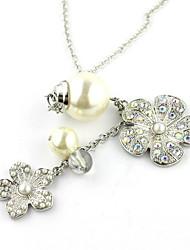 Великолепный сплав с Rhinestone и ожерелье Имитация Pearl женские
