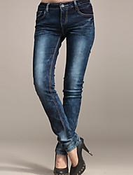 Azul lavado Denim Jeans de algodón de KARORINLAN Mujeres