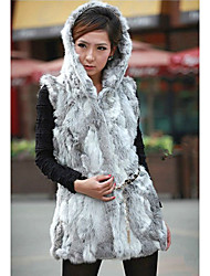 Fur Vest With Sleeveless Hooded Rabbit Fur Party/Casual Vest(More Colors)