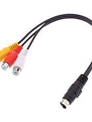 S-Video macho a 3 RCA Cable adaptador hembra (0,2 M)