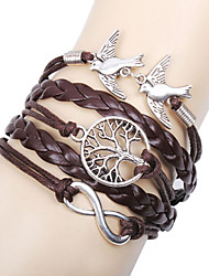 Femme Charmes pour Bracelets Bracelets en cuir Bracelets Basique Amitié Multicouches Fait à la main Personnalisé Cuir Amour Infini Marron