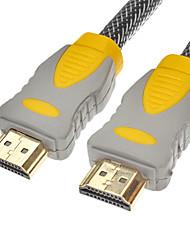 HDMI V1.4 M / M Cabo Net-chapeado Amarelo e Preto para Smart LED HDTV / Chromecast / Blu-Ray DVD (1.4M)