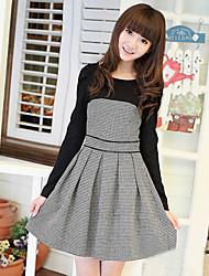 Check Empalme lana vestido de manga larga JDUDIEWU Mujeres
