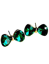 Wen Wanru Korean jewelry delicate sea-green jade crystal bow earrings E519