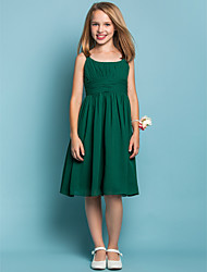 Knee-length Chiffon Junior Bridesmaid Dress - Dark Green Sheath/Column Scoop / Straps