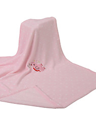 Pink Elephant Coral Fleece with Embroidery Baby Blanket