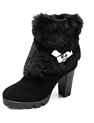 DUMOO женский черный Мода нубука Коренастый обувь Каблук Кони волос