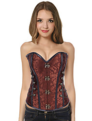 Sexy Brown Grommets Floral Print Cotton Blend Corset For Women