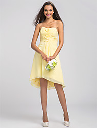 Homecoming Asymmetrical/Knee-length Chiffon Bridesmaid Dress - Daffodil Plus Sizes A-line Sweetheart