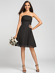 Lanting Bride® Knee-length Chiffon Bridesmaid Dress - A-line Strapless Plus Size / Petite with Appliques / Draping