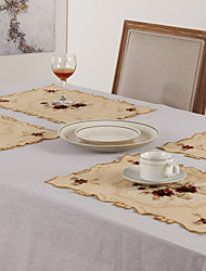 Green / Red Polyester Rectangular Placemats