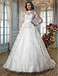 Lan Ting A-line/Princess Plus Sizes Wedding Dress - Ivory Court Train High Neck Lace/Tulle