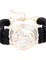 Simple multiple horse leather bracelet