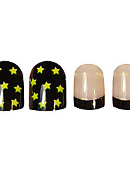 24PCS Yellow Black Star plein bouts d'ongle de couverture