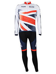 Kooplus Maglia con pantaloni da ciclismo Unisex Maniche lunghe Bicicletta Set di vestitiAsciugatura rapida Antivento Zip impermeabile Zip