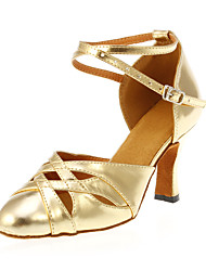 Customizable Women's Dance Shoes Modern Leatherette Customized Heel Gold