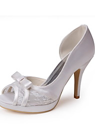 Women's Shoes Stretch Satin / Satin Summer Peep Toe Wedding Stiletto Heel Bowknot / Lace-up Ivory