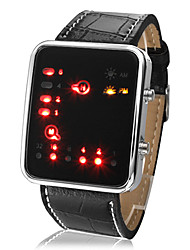 Unisex Women's Men's Watch LED Binary System Display Black PU Leather Wrist Watch Fashion  Cool Watch Unique Watch