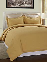 3-Piece Fashion Style amarela sólido Duvet Cover Set