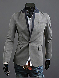 RR BUY Men Gray Stand Collar Color Contrast One Button Casual Coat