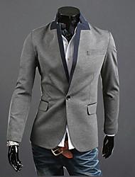 RR ПОКУПАТЬ Мужчины Серый ворота стойки Цветовой контраст One Button случайных пальто