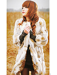 Long Sleeve Collarless Rabbit Fur Party/Casual Coat(More Colors)