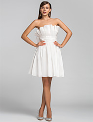 TS Couture® Cocktail Party / Homecoming / Wedding Party Dress - Short Plus Size / Petite A-line / Princess Strapless Short / Mini Taffeta withBow(s)